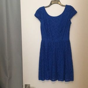 B Darlin Dresses - Cap sleeved, bright blue lace dress, with zip back